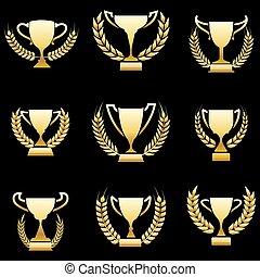 Golden winner awards with wreaths