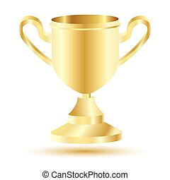 Golden Winner Cup Isolated on White Background.