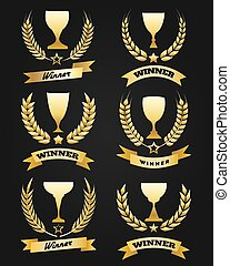Golden winner cups with ribbon