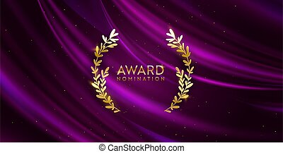 Golden winner glitter background with laurel wreath. Award nomination design banner. Vector ceremony luxury invitation template, realistic silk abstract fabric texture, prize nominee business