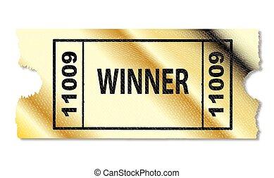 Golden Winner Ticket - An golden ticket proclaiming a winner...