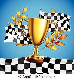 Golden Winner Trophy Realistic Poster