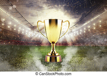 Golden winner's cup in the middle of a stadium with audience