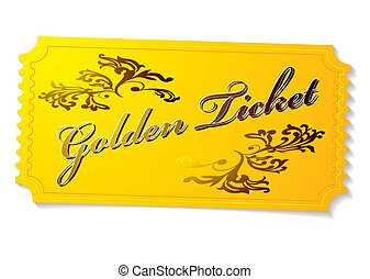 golden winning competition ticket with floral elements and shadow