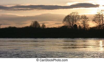Golden winter river.