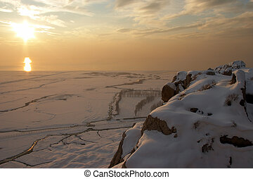 Golden winter sunset, Van Lake, Eastern Turkey