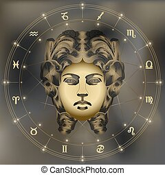 Golden woman portrait, zodiac Virgo sign