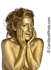 Golden woman with pearls