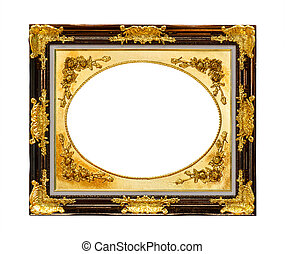 golden wood frame isolated with clipping path
