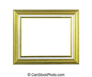 Golden wooden frame isolated