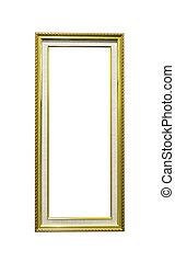 Golden wooden rectangle frame isolated