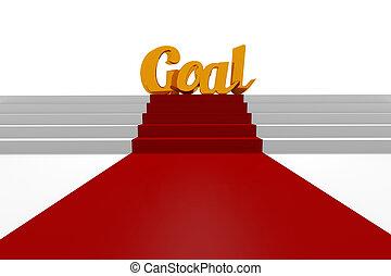 Golden word goal 3d rendering