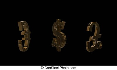 Golden world currencies signs
