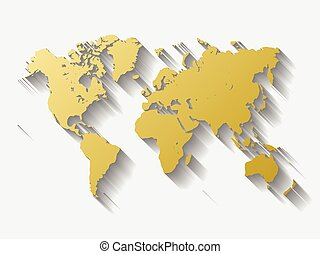 Golden world map silhoutte. Metal like design with long...