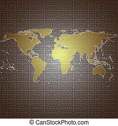 golden world map vector background