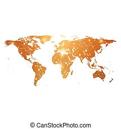 Golden World Map with global technology networking concept. Digital data visualization. Scientific cybernetic particle compounds. Big Data background communication. Vector illustration.