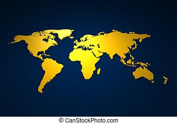 Golden Worldmap - 3d rendered worldmap in gold