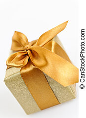 Golden wrapped gift box