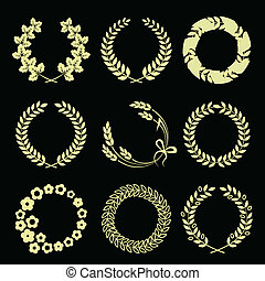 Golden wreaths isolated on black background