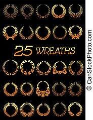 Golden wreaths with laurel, oak, flowers, wheat
