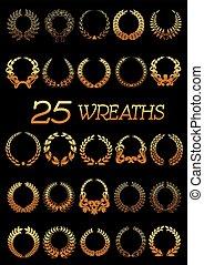 Golden wreaths with laurel, oak, flowers, wheat