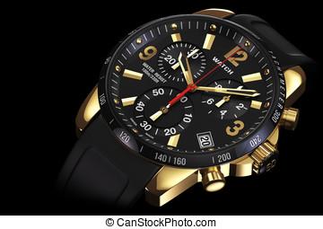 Golden wrist watch close - Mens swiss mechanical golden...