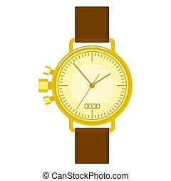 golden wristwatch image - Solid elegant golden men wrist...