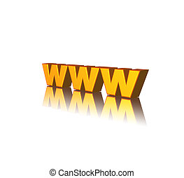 www - golden www letters on white background - 3d ...