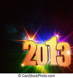 golden year 2013 with rainbow rays and stars - golden year...