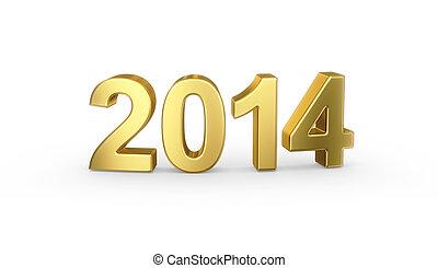 Golden year 2014 on white