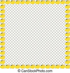 Golden yellow apples photo frame transparent background.