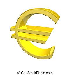 Golden yellow Euro symbol - 3d render of a golden yellow ...