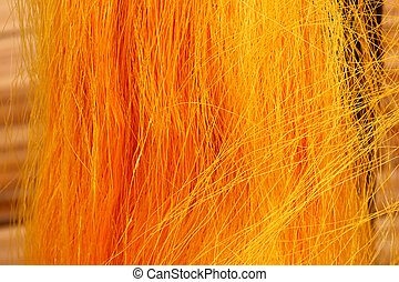 Golden yellow raw silk thread background