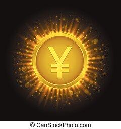 Golden Yen coin
