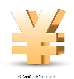 golden yen symbol isolated white background