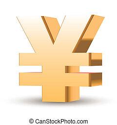 golden yen symbol isolated white background