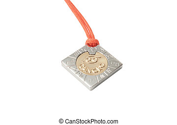 Golden zodiac cancer medallion isolated