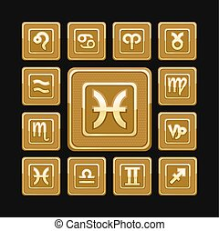Golden zodiac signs set of 12 icons