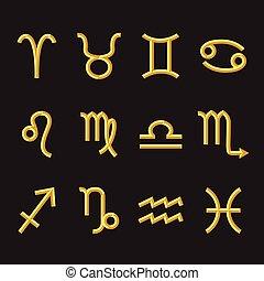 golden zodiac symbols