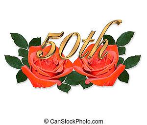 Goldene Hochzeit, Grafik, Rote Rosen