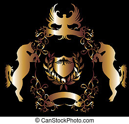 goldener adler, schutzschirm, vektor, kunst