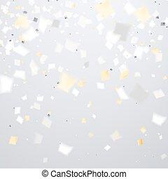 goldener hintergrund, fliegendes, einige, fokus, konfetti, ...