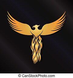 goldener vogel, phoenix, logo