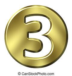 goldenes, 3, 3d, zahl, gerahmt