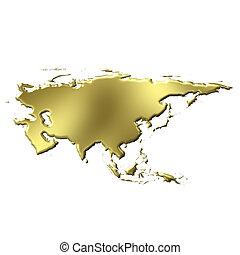 goldenes, 3d, asia, landkarte