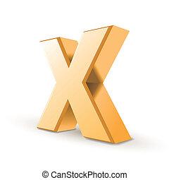 goldenes, 3d, buchstabe x