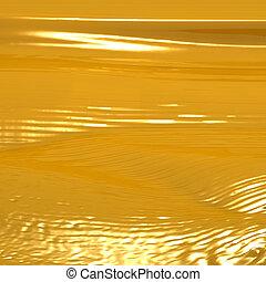 goldenes, abstrakt, flüssiglkeit, hintergrund, strömend