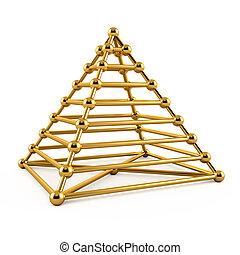 goldenes, abstrakt, pyramide, abbildung, 3d