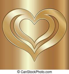 goldenes, abstrakt, vektor, hintergrund, paar, herzen, rotes
