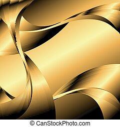 goldenes, abstrakt, wellig, hintergruende